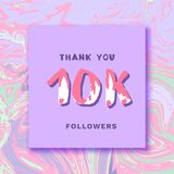 10K Followers thank you banner. Vector illustration. 10K Followers thank you square banner with liquid background. Handwritten letters. Template for social Stock Photo