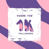 1K Followers thank you banner. Vector illustration. 1K Followers thank you square banner with frame and wavy background. Template for social media post Stock Photo