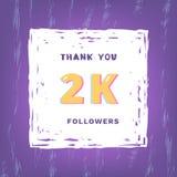 2K followers thank you. Vector illustration. 2K followers thank you card. Celebration 2000 subscribers  banner. Template for social media. Vector illustration Royalty Free Stock Photography