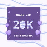 20K followers thank you. Vector illustration. 20K followers thank you card. Celebration 20000 subscribers  banner. Template for social media. Vector Stock Photos
