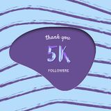 5K followers thank you card. Vector illustration. 5K followers thank you card. Cover with papercut effect and brush abstract lines. Template for social media vector illustration