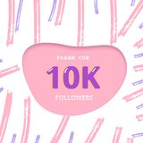 10K followers thank you card. Vector illustration. 10K followers thank you card. 10000 subscribers cover with papercut shape and brush abstract lines. Template Stock Images