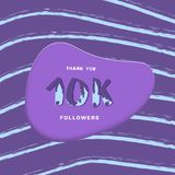 10K followers thank you card. Vector illustration. 10K followers thank you card. Cover with papercut effect and brush abstract lines. Template for social media Royalty Free Stock Photos