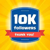 10K followers Thank you design card for. Celebrating a large number of subscribers or followers in social networks Royalty Free Stock Image