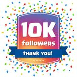 10K followers Thank you design card for. Celebrating a large number of subscribers or followers in social networks Royalty Free Stock Images