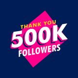 500k followers thank you message in funky style. Vector stock illustration