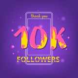10K Followers thank you banner. Vector illustration. 10K Followers thank you phrase with random items. Template for social media post. Handwritten letters Royalty Free Stock Images