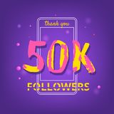 50K Followers thank you banner. Vector illustration. 50K Followers thank you phrase with random items. Template for social media post. Handwritten letters Royalty Free Stock Images