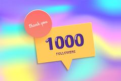 1K followers thank you post for social media. Vector illustration. 1K followers thank you post with decoration and foil background. 1000 subscribers banner with Royalty Free Stock Image