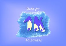 1K followers thank you post for social media. Vector illustration. 1K followers thank you post with decoration. 1000 subscribers banner with watercolor element stock illustration
