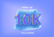 10K followers thank you post for social media. Vector illustration. 10K followers thank you post with decoration. 10000 subscribers banner with watercolor shape Royalty Free Illustration