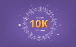 1K followers thank you post for social media. Vector illustration. 10K followers thank you post with decoration. 10000 subscribers horizontal vintage banner Vector Illustration