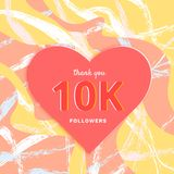 10K followers thank you post for social media. Vector illustration. 10K followers thank you post with heart shape and creative decoration background. 10000 Royalty Free Illustration