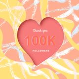 100K followers thank you post for social media. Vector illustration. 100K followers thank you post with heart shape and decoration. 100000 subscribers royalty free illustration
