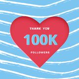 100K followers thank you post for social media. Vector illustration. 100K followers thank you post with heart shape and decoration. 100000 subscribers stock illustration