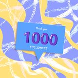 1K followers thank you post for social media. Vector illustration. 1K followers thank you post with decoration. 1000 subscribers banner with speech bubble and royalty free illustration