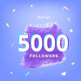 5K followers thank you post for social media. Vector illustration. 5K followers thank you post with decoration. 5000 subscribers banner. Template for social stock illustration