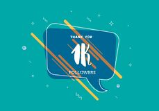 1K followers thank you post for social media. Vector illustration. 1K followers thank you post with decoration. 1000 subscribers  banner with speech bubble Royalty Free Stock Photo