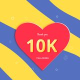 10K followers thank you post for social media. Vector illustration. 10K followers thank you post with heart shape and decoration. 10000 subscribers celebration Vector Illustration