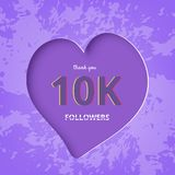 10K followers thank you post for social media. Vector illustration. 10K followers thank you post with heart shape and textured decoration background. 10000 Stock Illustration