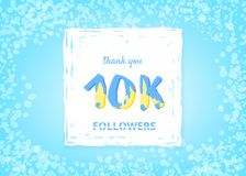 10K followers thank you post. Vector illustration. 10K followers thank you post. 10000 subscribers horizontal banner with handwritten lettering and grain effect Royalty Free Illustration