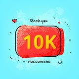 10K followers thank you post. Vector illustration. 10K followers thank you post. 10000 subscribers red button on blue textured backgroun. Greeting card for Royalty Free Illustration