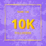 10K followers thank you post. Vector illustration. 10K followers thank you post with textired violet background. 10000 subscribers. Greeting card for social Stock Illustration