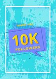 10K followers thank you post. Vector illustration. 10K followers thank you post. 10000 subscribers. Vertical celebration card for social networks. Template for Royalty Free Illustration