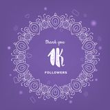1K followers thank you post for social media. Vector illustration. 1K followers thank you post with vintage frame. 1000 subscribers celebration banner. Greeting royalty free illustration