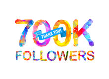 700K followers. Thank you!. 700K seven hundred thousand followers. Thank you! Triangular vector letters Stock Illustration