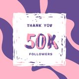 50K Followers thank you banner. Vector illustration. 50K Followers thank you square banner with frame and wavy background. Template for social media post Stock Photography