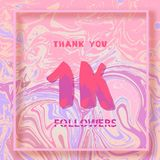 1K Followers thank you banner. Vector illustration. 1K Followers thank you square banner with liquid background and frame. Template for social media post. Cover Stock Photography