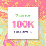 100K Followers thank you banner. Vector illustration. 100K Followers thank you square banner with liquid background. Template for social media post. Cover for stock illustration