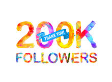 200K followers. Thank you!. 200K two hundred thousand followers. Thank you! Triangular vector letters royalty free illustration