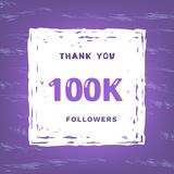 100K followers thank you. Vector illustration. 100K followers thank you card. Celebration 100000 subscribers  banner. Template for social media. Vector stock illustration