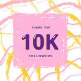10K followers thank you. Vector illustration. 10K followers thank you card. Celebration 10000 subscribers  banner. Template for social media. Vector Royalty Free Stock Image