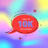 10k followers thank you. Vector illustration. 10k followers thank you card. Celebration 10000 subscribers geometric banner. Template for social media. Vector Royalty Free Stock Photo