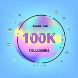 100k followers thank you. Vector illustration. 100k followers thank you card. Celebration 100000 subscribers geometric banner. Template for social media. Vector royalty free illustration