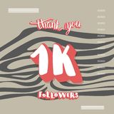 1K followers thank you. Vector social media template. Flat template of 1K followers thank you. Banner for internet networks with zebra striped pattern. 1000 stock illustration