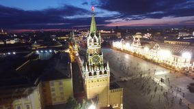 Saint Basil`s Cathedral flight around. Best unique night flight close to Moscow Kremlin and Red Square. Evening embankment road stock video footage