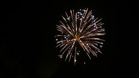 4K footage of close up real colorful fireworks festival light up in the sky at dark night scene for holiday festival and celebrate. 4K footage of close up real stock footage