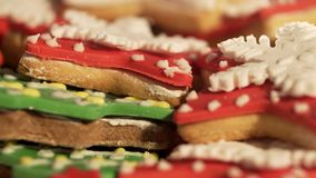 4k footage, decorating ginger bread cookies for christmas. Video 4k, decorating cookies of ginger cake for Christmas. Video 4k, decorating cookies of ginger cake stock video