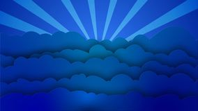 Blue cartoon style Clouds waves with rotating sun rays