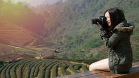 4K footage of happy Asian tourist woman taking photo of beautiful nature from tea field plantation in Asia by digital camera stock footage