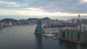4K Footage of Hong Kong and Kowloon City from sky stock video footage