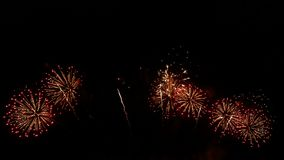4K footage seamless loop of real colorful fireworks festival in the sky display at night during national holiday, new year party. Or celebration event stock video