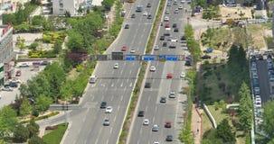 4k busy urban traffic on overpass,urban morden building,china. 4k  freeway busy city rush hour heavy traffic jam highway,Overpass interchange,urban morden stock video