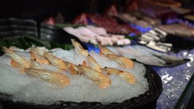 4K, fresh raw shrimp seafood and sashimi in buffet line at Taiwan. A hotpot. 4K, fresh raw seafood and sashimi in buffet line at Taiwan. Salmon, shrimp and prawn stock video