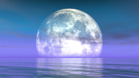 4k Full Moon on the water,reflect on the sea,Science Fiction Scene,purple cloud & smoke flying.