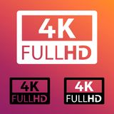 4k FullHD Button - Different Vector Illustration Icons - Isolated On Retro Color Background royalty free illustration